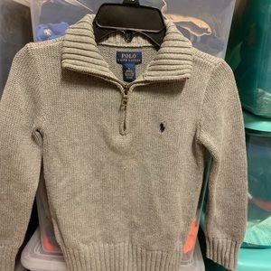 Ralph Lauren Polo 1/4 Zip Sweater GRAY Boys Sz 5